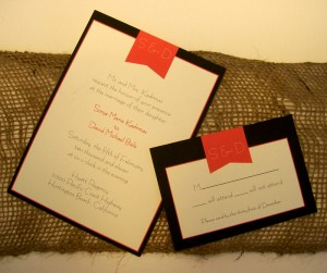 Black White and Red Invites