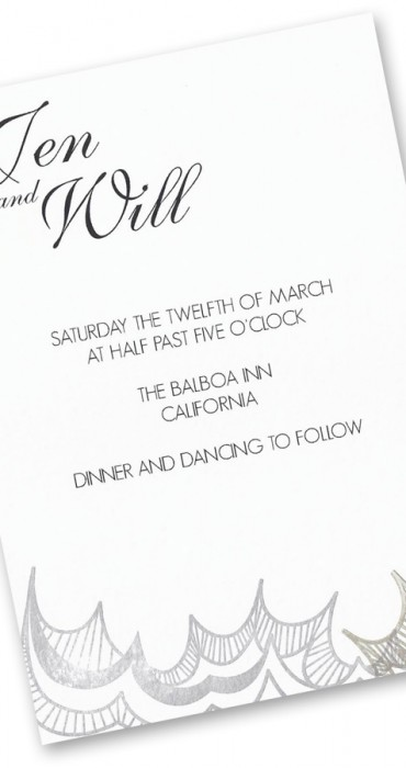 Silver and Gold Wave Invitations